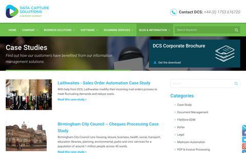 Screenshot of Case Studies Page dcs.co.uk - Case Studies Information - Data Capture Solutions UK - captured Nov. 13, 2018