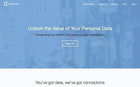 Screenshot of Home Page datacoup.com - Datacoup - Reclaim your personal data - captured Nov. 3, 2015