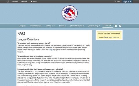 Screenshot of FAQ Page wafc.org - FAQ - Washington Area Frisbee Club - captured Nov. 28, 2016