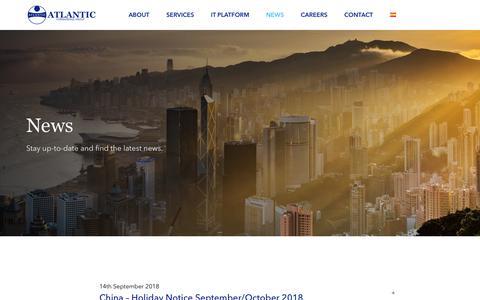 Screenshot of Press Page atlanticforwarding.com - Atlantic Forwarding Group - News - captured Oct. 4, 2018