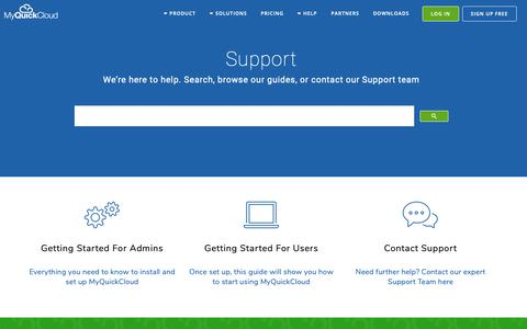 Screenshot of Support Page myquickcloud.com - Official Help and Support Centre for MyQuickCloud - captured Oct. 18, 2018