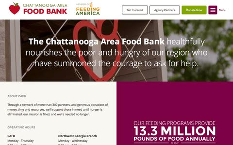 Screenshot of About Page Contact Page chattfoodbank.org - About CAFB - captured Nov. 18, 2015