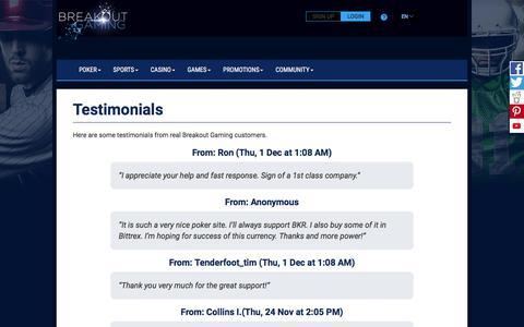 Screenshot of Testimonials Page breakoutgaming.com - Testimonials - Breakout Gaming - Sports, Poker, Casino & Gaming - captured Oct. 13, 2017