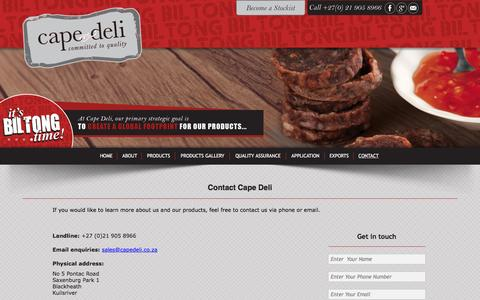 Screenshot of Contact Page capedeli.co.za - Contact us for more information on our products - captured Oct. 19, 2016