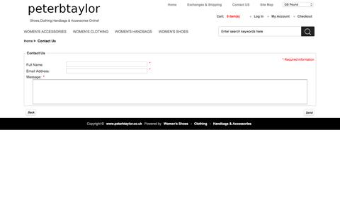 Screenshot of Contact Page peterbtaylor.co.uk - Contact Us : Women's Shoes,Clothing,Handbags & Accessories Online Shopping | boots,heels,ballet pumps,jackets,coats,dresses,playsuits,tops,handbags,sunglasses - captured Dec. 1, 2016