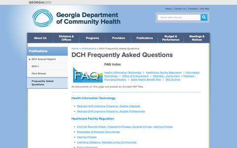 Screenshot of FAQ Page georgia.gov - DCH Frequently Asked Questions | Georgia Department  of Community Health - captured Sept. 18, 2014