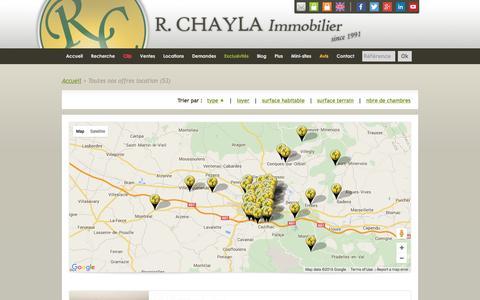 Screenshot of Locations Page chaylaimmobilier.com - Offres en Location | Agence immobiliere à Carcassonne Aude | Achat, Vente, Location de Maisons et Appartements - captured Feb. 16, 2016