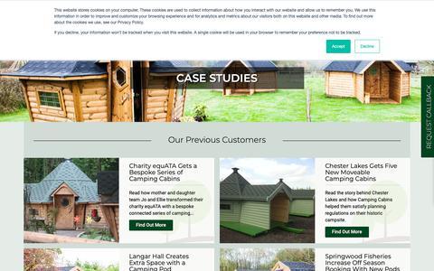 Screenshot of Case Studies Page campingcabins.co.uk - Case Studies - Cabin Master: Garden Room Manufacturer - captured Nov. 20, 2018