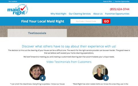 Screenshot of Testimonials Page maidright.com - Testimonials and Reviews of our Cleaning Services | Maid Right - captured Oct. 5, 2017