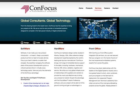 Screenshot of Services Page confocus.com - Services | ConFocus, a Flextronics Company - captured Oct. 3, 2014
