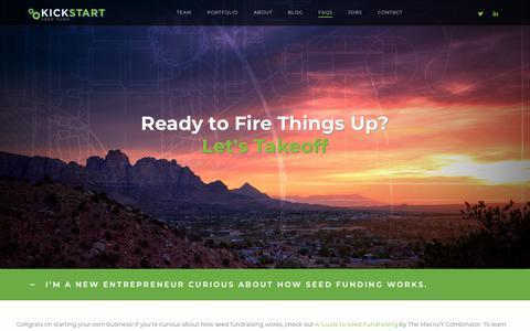 Screenshot of FAQ Page kickstartseedfund.com - FAQS – Kickstart Seed Fund - captured Sept. 20, 2018