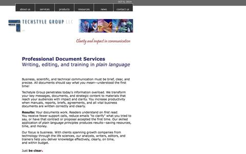 Screenshot of Home Page techstyle.com - Techstyle Group LLC - Professional Document Services - technical & medical writing and editing in plain language - captured Oct. 6, 2014