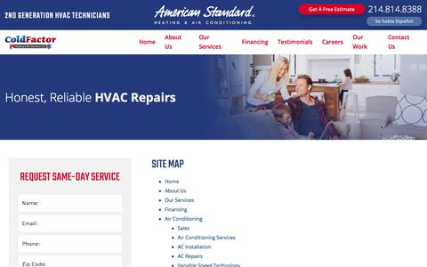 Screenshot of Site Map Page coldfactor.com - Site Map   Lewisville HVAC Service - captured Aug. 11, 2017