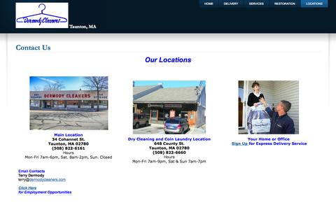 Screenshot of Locations Page Maps & Directions Page dermodycleaners.com - Contact Us - captured Oct. 23, 2014