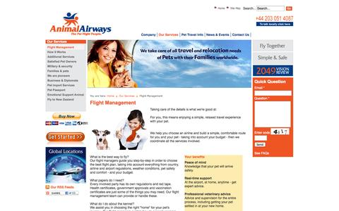 Screenshot of Services Page animalairways.com - Pet Flight Managment - Flying Dogs and Cats with Families - captured Sept. 30, 2014