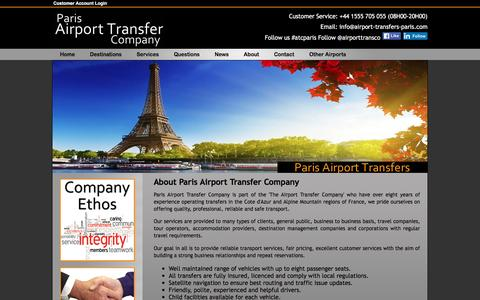 Screenshot of About Page airport-transfers-paris.com - Paris Airport Transfer Company, Company Information - captured March 14, 2016
