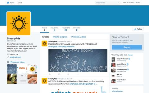 Screenshot of Twitter Page twitter.com - SmartyAds (@SmartyAds) | Twitter - captured Oct. 14, 2015