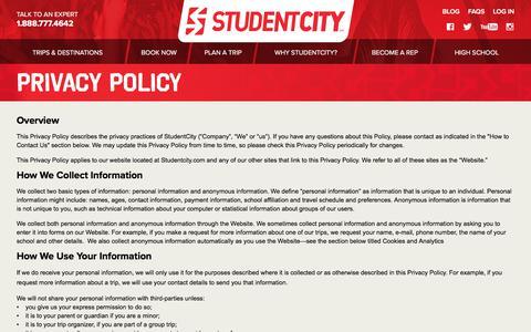 Screenshot of Privacy Page studentcity.com - Privacy | StudentCity - captured July 11, 2017