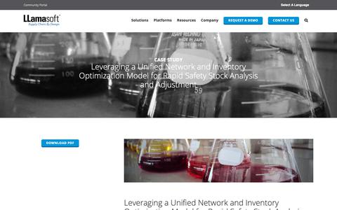 Screenshot of Case Studies Page llamasoft.com - Leveraging a Unified Network and Inventory Optimization Model for Rapid Safety Stock Analysis and Adjustment   LLamasoft - captured May 3, 2019