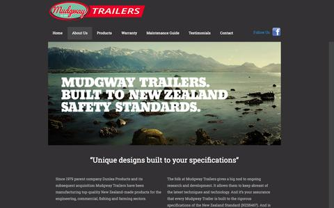 Screenshot of About Page mudgway.co.nz - Mudgway Trailers - captured Oct. 9, 2014