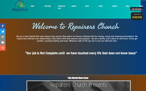 Screenshot of Home Page repairerschurch.com - Home - captured July 10, 2018
