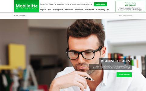Screenshot of Case Studies Page mobiloitte.com - Case Studies - Mobiloitte - captured Jan. 19, 2018