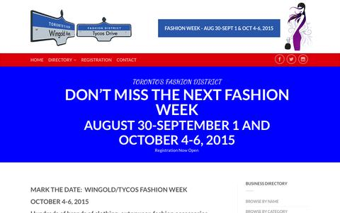 Screenshot of Home Page wingoldtycos.com - Wingold Tycos | Toronto's New Fashion District - captured Sept. 16, 2015