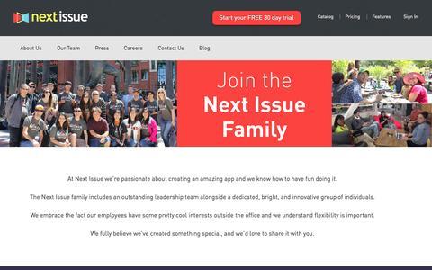Screenshot of Jobs Page nextissue.com - Next Issue | Careers - captured Sept. 19, 2014