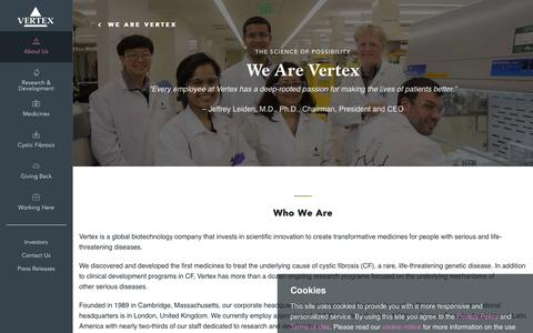 Screenshot of About Page vrtx.com - We Are Vertex | Vertex Pharmaceuticals - captured May 31, 2019