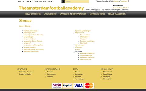 Screenshot of Site Map Page theamsterdamfootballacademy.nl - Sitemap - captured Nov. 8, 2017