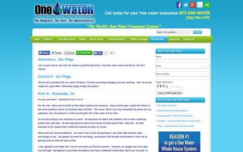 Screenshot of Testimonials Page onewatersystems.com - Home Water Filter San Diego | Oceanside | Carlsbad | Encinitas | La Jolla | Del Mar | Escondido - captured Oct. 26, 2014