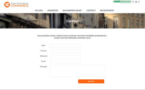 Screenshot of Contact Page agentmandataire.fr - Agent Mandataire Commerce | Contact - captured Oct. 24, 2018