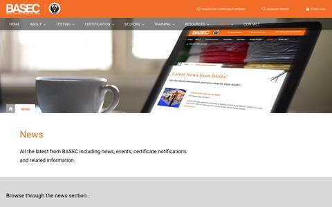 Screenshot of Press Page basec.org.uk - News | BASEC - captured July 24, 2018