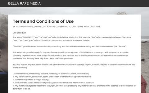 Screenshot of Terms Page bellarafe.com - Terms and Conditions of Use - captured Nov. 22, 2016