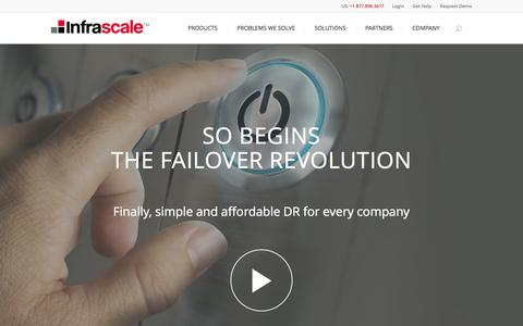 Screenshot of Home Page infrascale.com - Cloud Disaster Recovery Solutions | Infrascale - captured Aug. 12, 2015