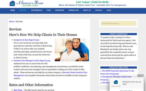 Screenshot of Services Page trustworthycare.com - Services For The Elderly In San Diego County - captured Aug. 4, 2017
