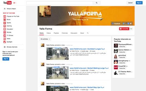 Screenshot of YouTube Page youtube.com - Yalla Forma  - YouTube - captured Oct. 29, 2014