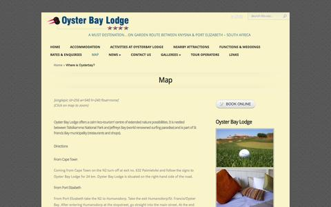 Screenshot of Maps & Directions Page oysterbaylodge.com - Where is Oysterbay?   Oyster Bay Lodge - captured Nov. 5, 2014