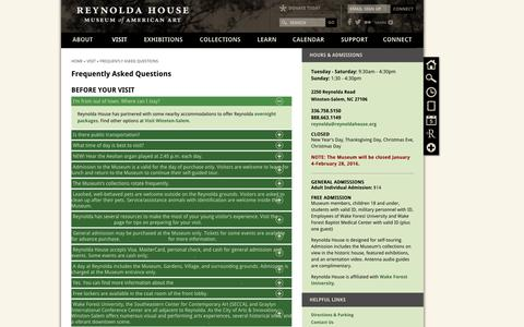Screenshot of FAQ Page reynoldahouse.org - Frequently Asked Questions | Reynolda House Museum of American Art - captured Feb. 15, 2016