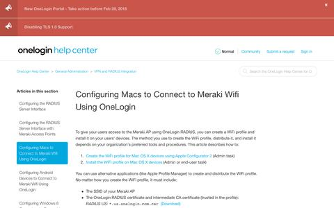 Screenshot of Support Page onelogin.com - Configuring Macs to Connect to Meraki Wifi Using OneLogin – OneLogin Help Center - captured March 4, 2018