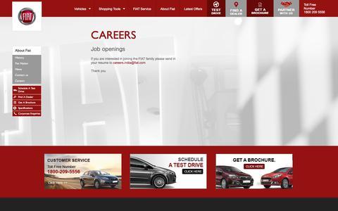 Screenshot of Jobs Page fiat-india.com - Career, Job Openings at FIAT India - captured Sept. 23, 2018
