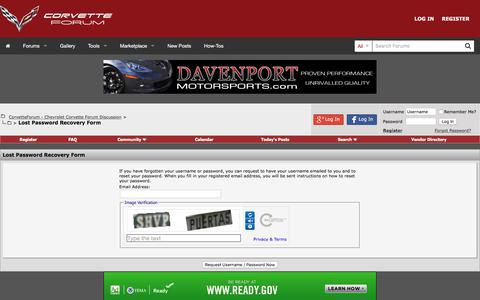 Screenshot of Login Page corvetteforum.com - CorvetteForum - Chevrolet Corvette Forum Discussion - Lost Password Recovery Form - captured June 20, 2017