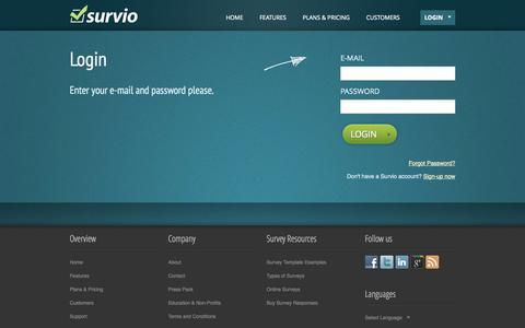 Screenshot of Login Page survio.com - Login | Survio.com - captured Sept. 24, 2014
