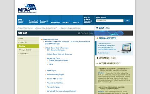 Screenshot of Site Map Page mfaa.com.au - MFAA - Site Map - captured Sept. 18, 2014