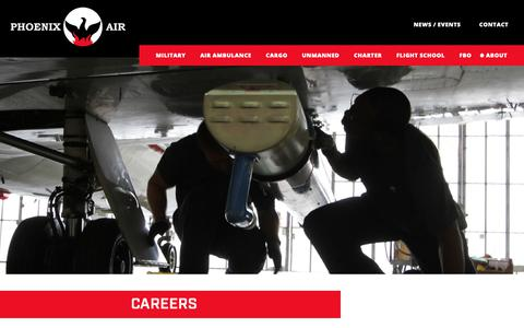Screenshot of Jobs Page phoenixair.com - Careers - Phoenix Air - captured Sept. 28, 2018