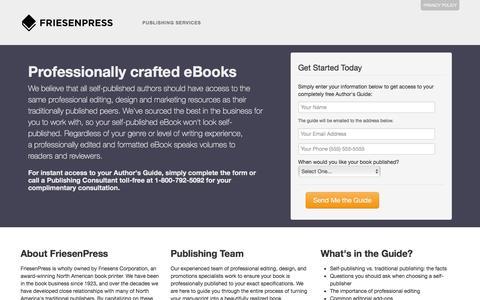 Screenshot of Landing Page friesenpress.com - Publish eBooks - captured July 3, 2016