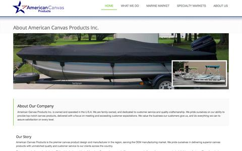 Screenshot of About Page americancanvasproductsinc.com - American Canvas Producst Inc. - captured July 25, 2016