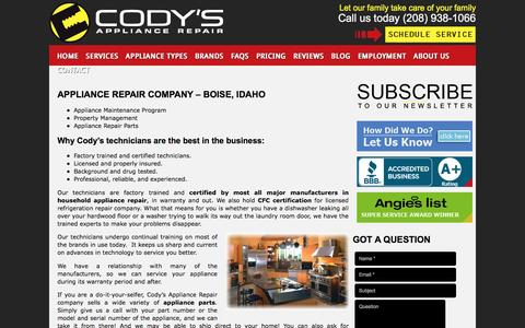 Screenshot of Services Page codysappliancerepair.com - Appliance Repair Company Services | Call 208-938-1066 for Service - captured May 19, 2017