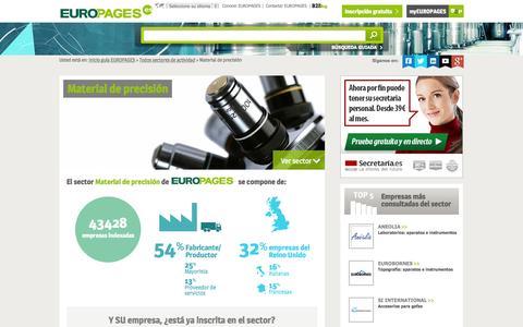 Screenshot of europages.es - Material de precisión , todos los proveedores para España y Europa de EUROPAGES - captured Sept. 12, 2015