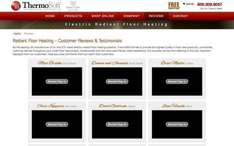 Screenshot of Testimonials Page thermosoft.com - Radiant Floor Heating, In Floor Heat - ThermoSoft - captured Nov. 4, 2014